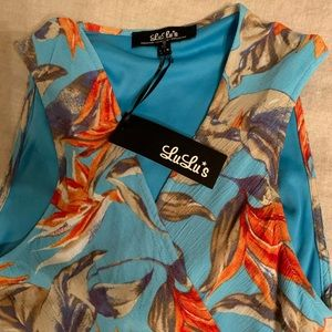 LuLu's summer tropical fun dress with open back